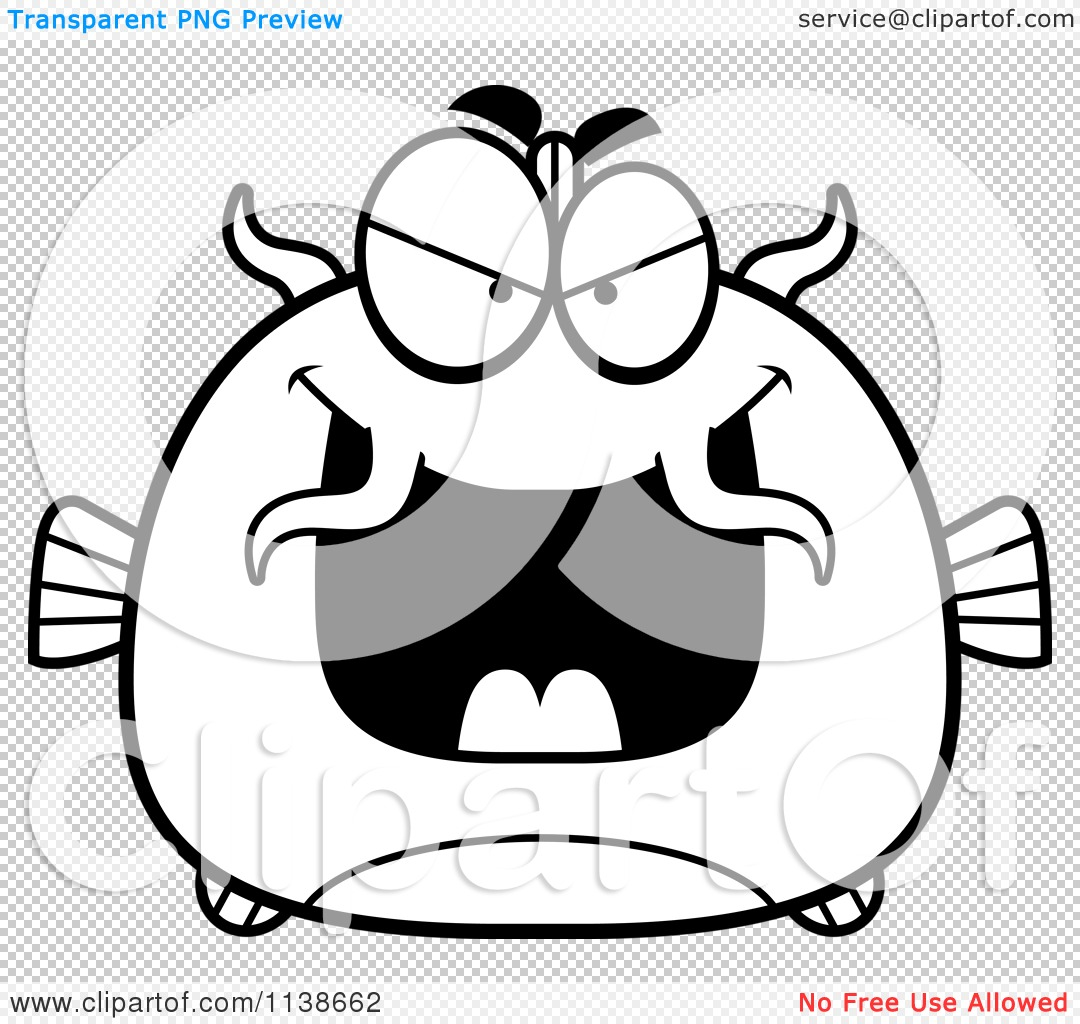 Cartoon Clipart Of A Black And White Sly Catfish.