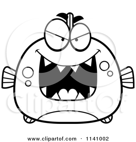 Cartoon Clipart Of A Black And White Sly Piranha Fish.