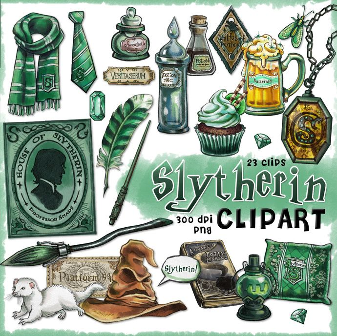 Slytherin clipart, Harry Potter clipart, Harry potter party.