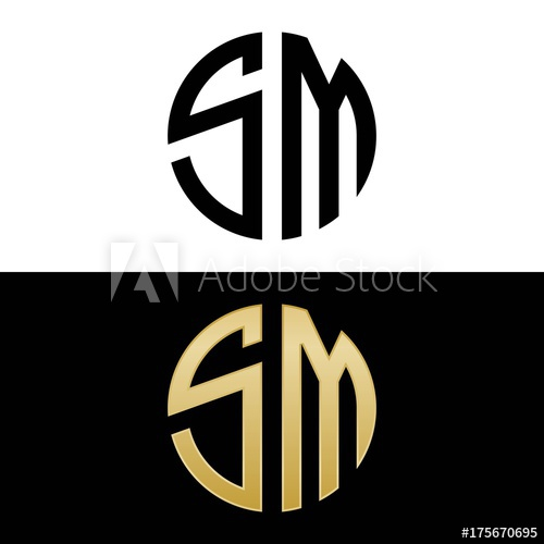 sm initial logo circle shape vector black and gold.