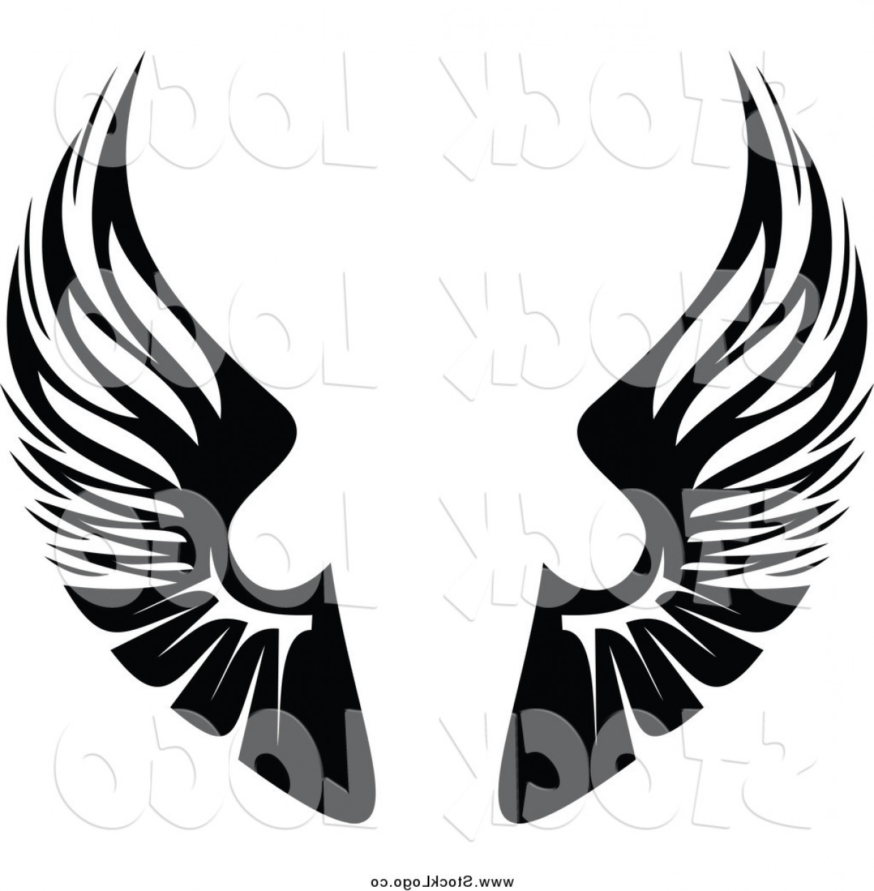 Vector Clipart Of A Black And White Pair Of Wings Logo By.