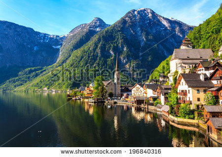 Famous Hallstatt Mountain Village Alpine Lake Stock Photo.