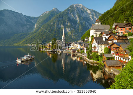 Beautiful Summer Alpine Hallstatt Town Lake Stock Photo 82919284.