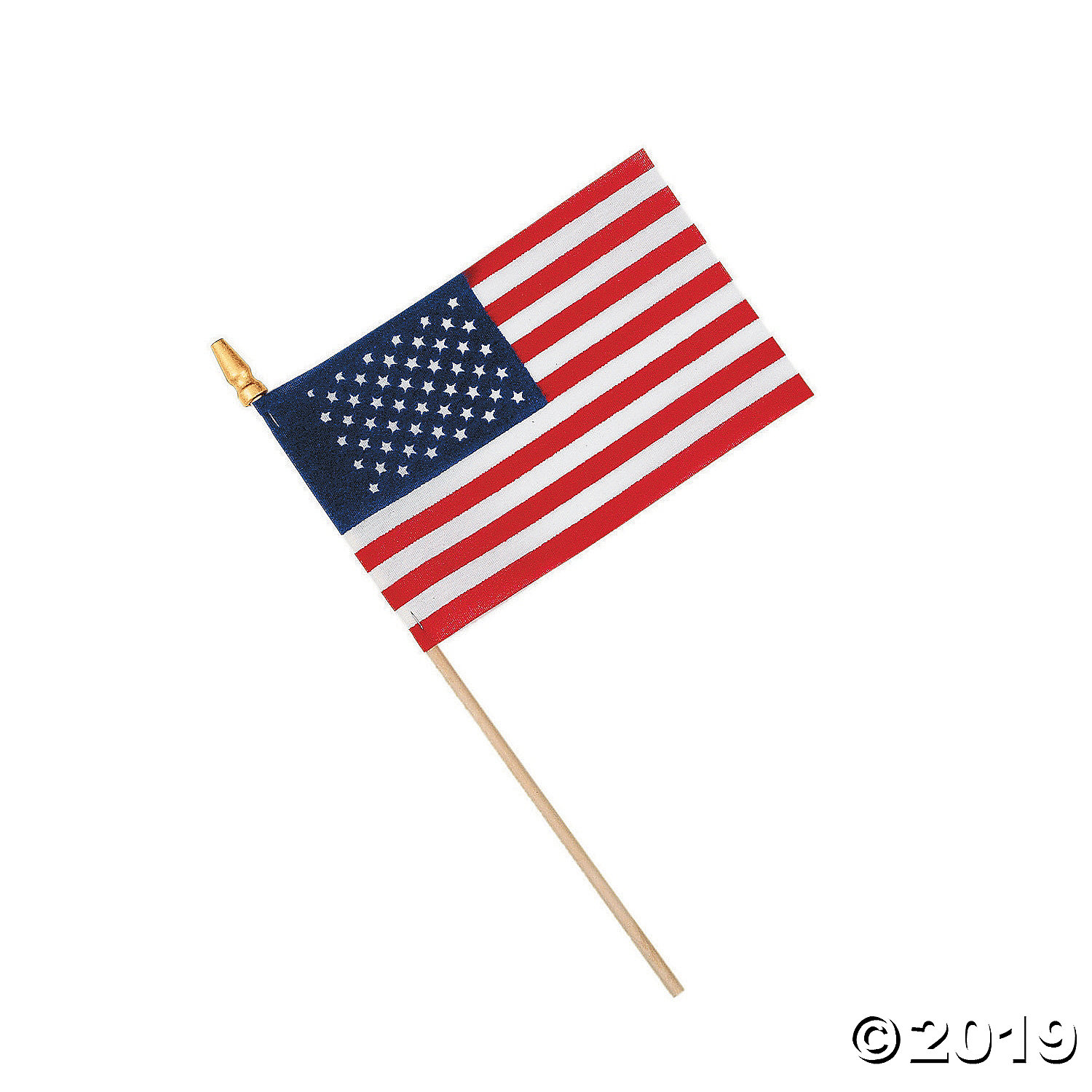 Small Cloth American Flags on Wooden Sticks.