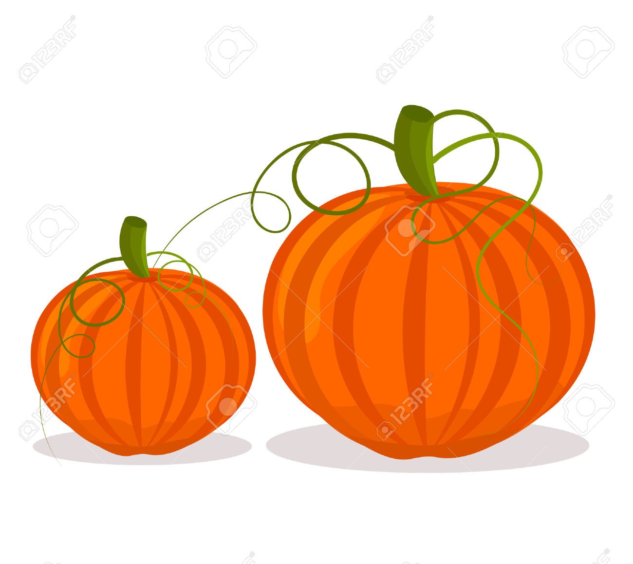 Two Pumpkins, Big And Small Over White Royalty Free Cliparts.