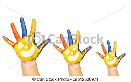 Picture of Family concept. Three colorful hands with smiling face.