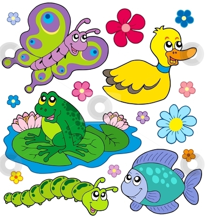 Pond Animals Clipart.