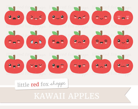 Kawaii Apple Clipart, Fruit Clip Art Faces Happy Summer Food.