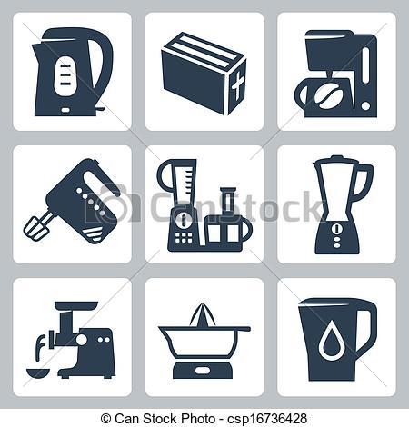 Vector Illustration of Vector kitchen appliances icons set.