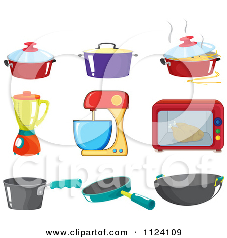 Cartoon Of Kitchen Pots And Appliances.