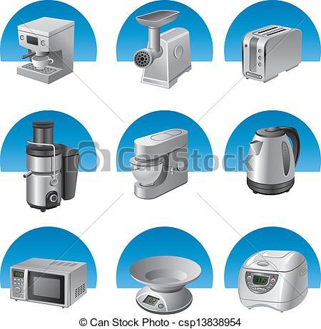 Clipart Vector of kitchen appliances icon set.