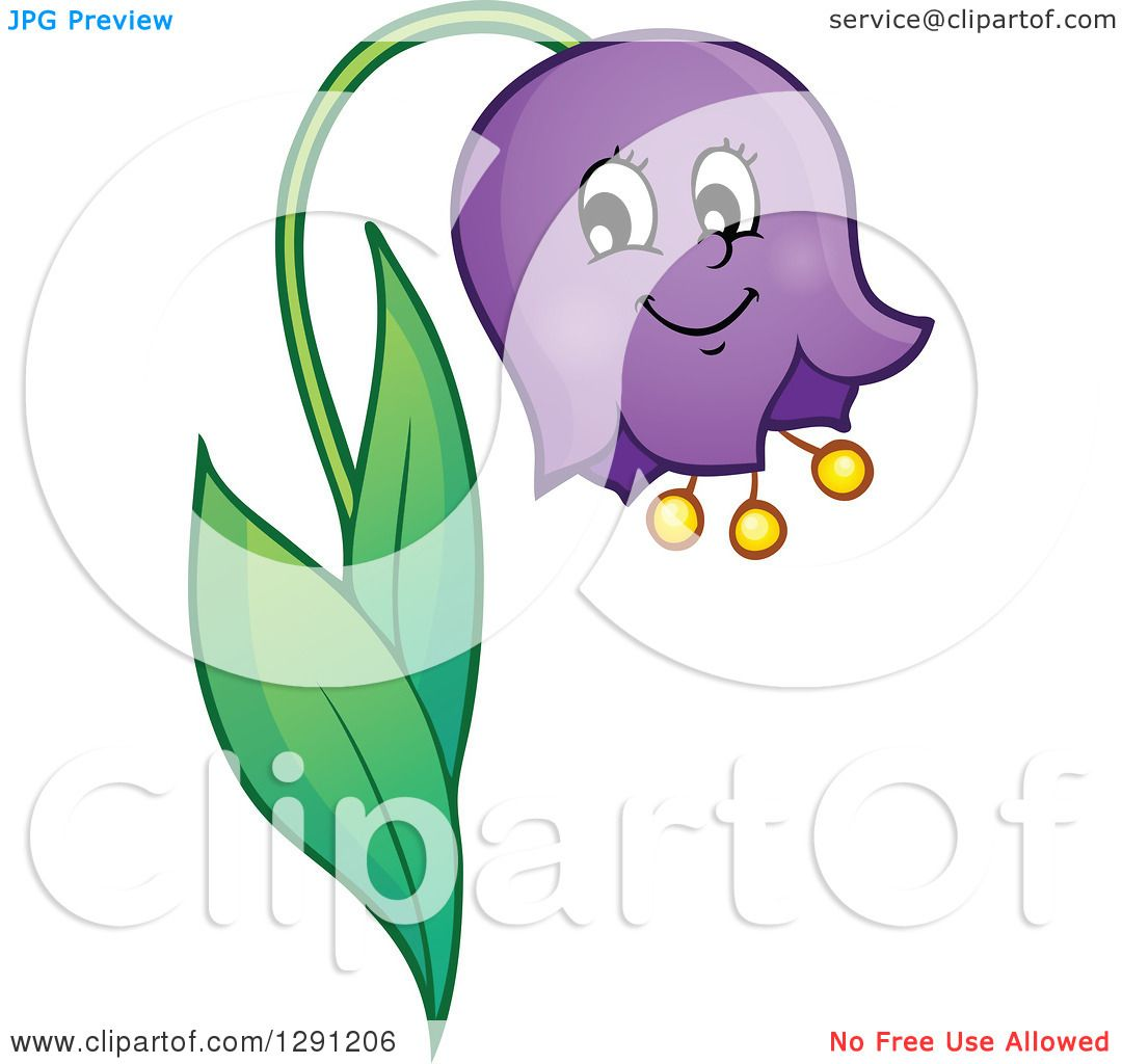 Clipart of a Happy Cartoon Bell Flower Character.
