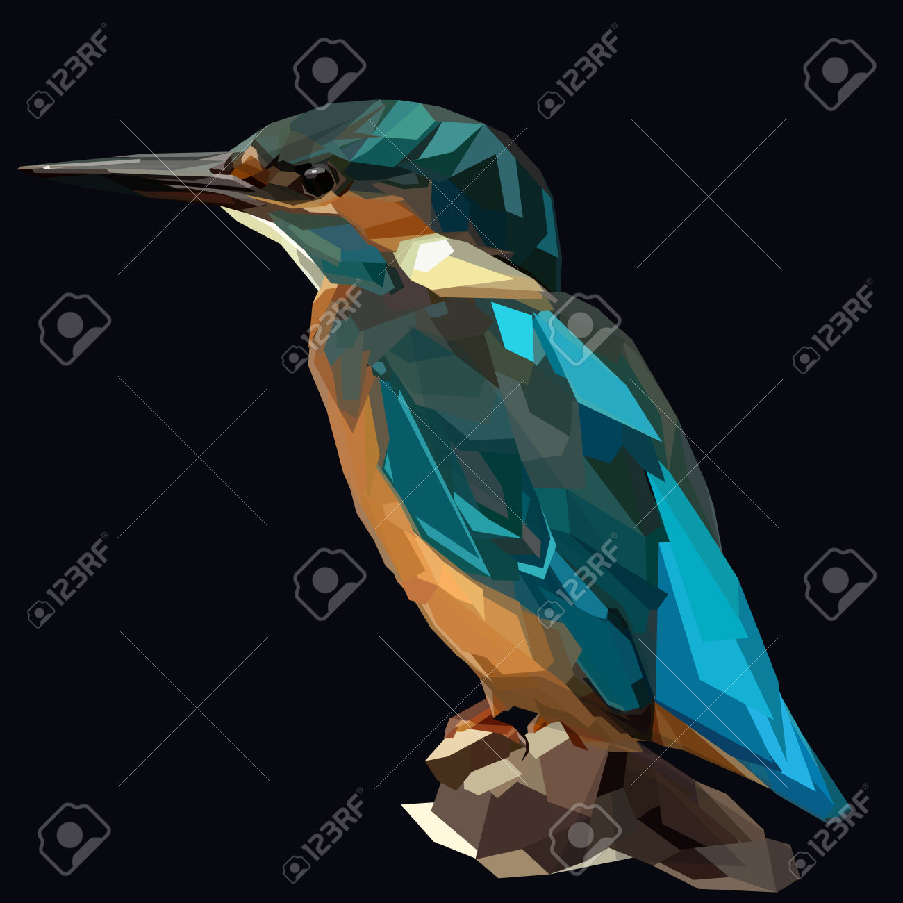 Small Blue Kingfisher Bird On Dark Background Royalty Free.