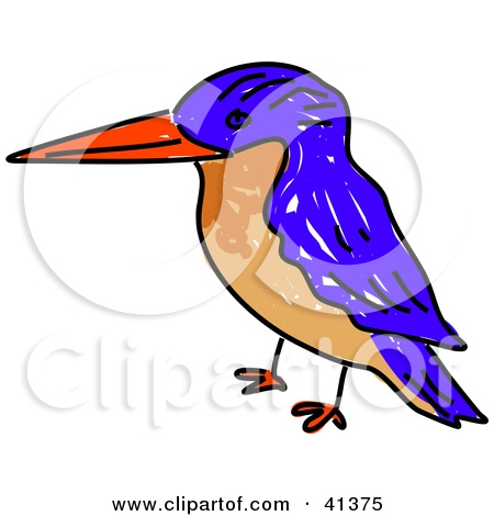 Clipart Illustration of a Blue Kingfisher With A Brown Belly by.