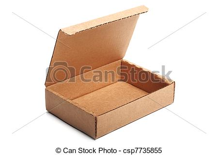 Stock Images of Open empty cardboard box.