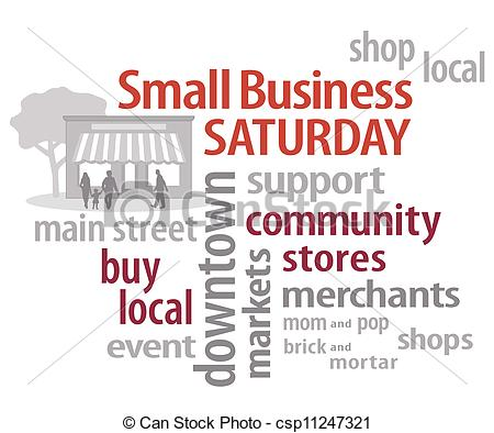 Vector Illustration of Small Business SATURDAY Word Cloud.