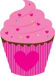Clipart Vector of pink cake with hearth isolated over white.