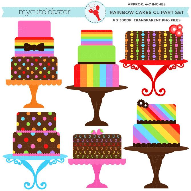 Rainbow Cakes Clipart Set clip art set of cakes rainbow.