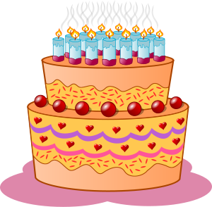 Birthday cake small clipart 300pixel size, free design.