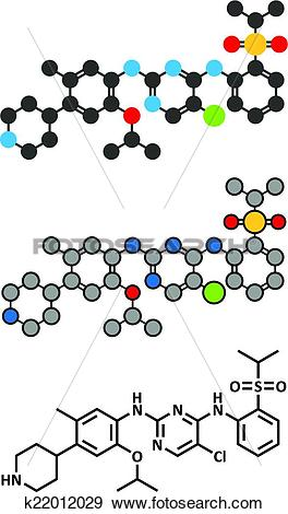 Clip Art of Ceritinib cancer drug molecule. ALK inhibitor used in.