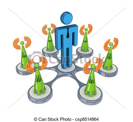 Drawing of Cell towers around 3d small person.Isolated on white.