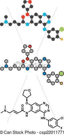 Vectors Illustration of Afatinib cancer drug molecule. Angiokinase.