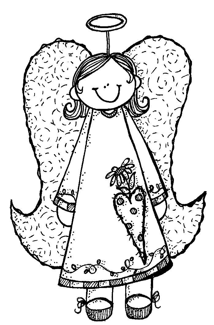 Small Christmas Angel Clipart Black And White.