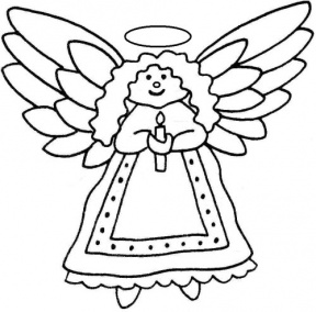 Simple Christmas Angel Clipart Black And White.