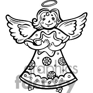 Christmas Angel Clipart Black And White.