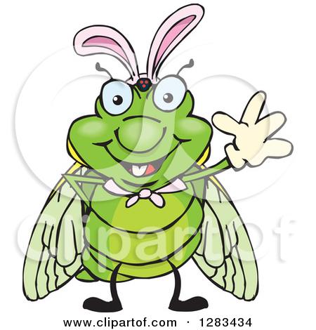 Clipart of a Happy Cicada Peeking over a Sign.