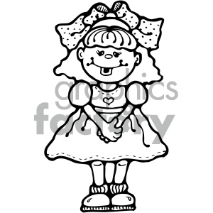 small cute cartoon girl black and white clipart. Royalty.