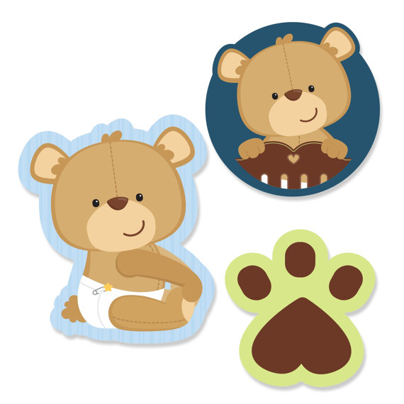 24 pc. Small Boy Teddy Bear Paper Cut Outs by BigDotOfHappiness.