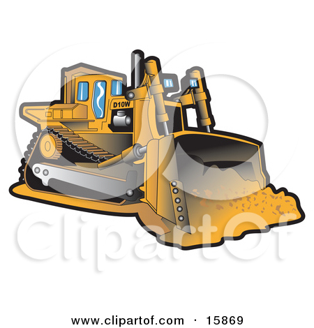 Yellow Bulldozer Moving Dirt At A Construction Site Clipart.