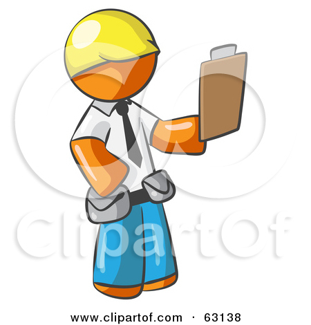 Clipart Illustration of an Orange Man Operating A Yellow Backhoe.