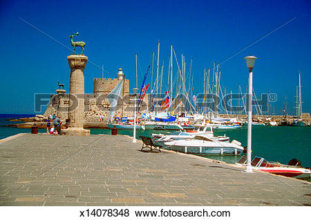 Pictures of Statue of stags on columns at a harbor, Rhodes, Greece.