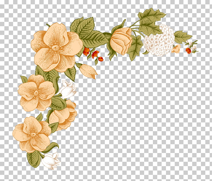 Flower Floral design , Small fresh floral borders, brown.