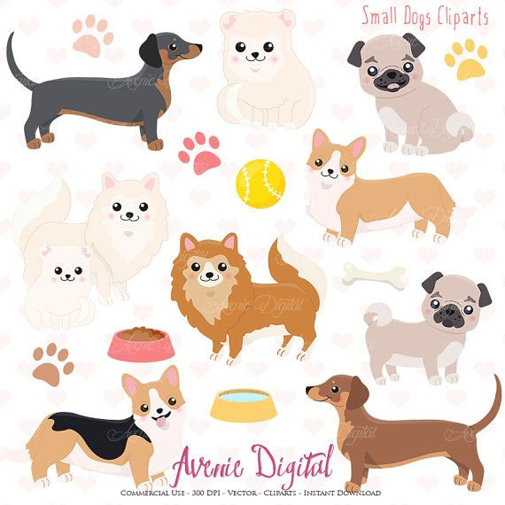 Cute Dog Clipart. Scrapbooking printables, Vector .eps and.