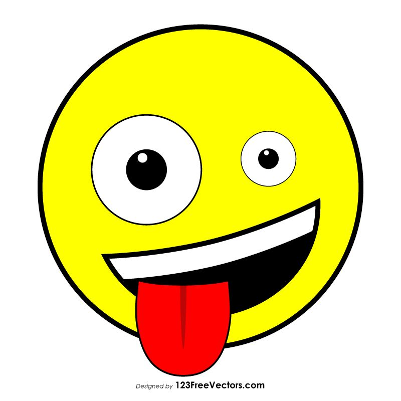 Grinning Face with One Large and One Small Eye Clipart.