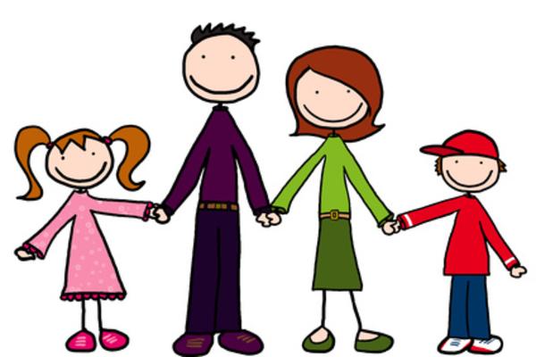 Cartoon Family Holding Hands.