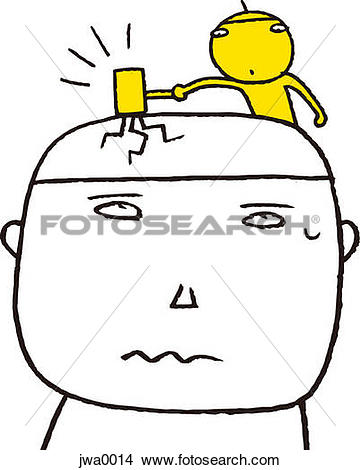 Drawings of A small yellow figure hitting a man on the head with a.