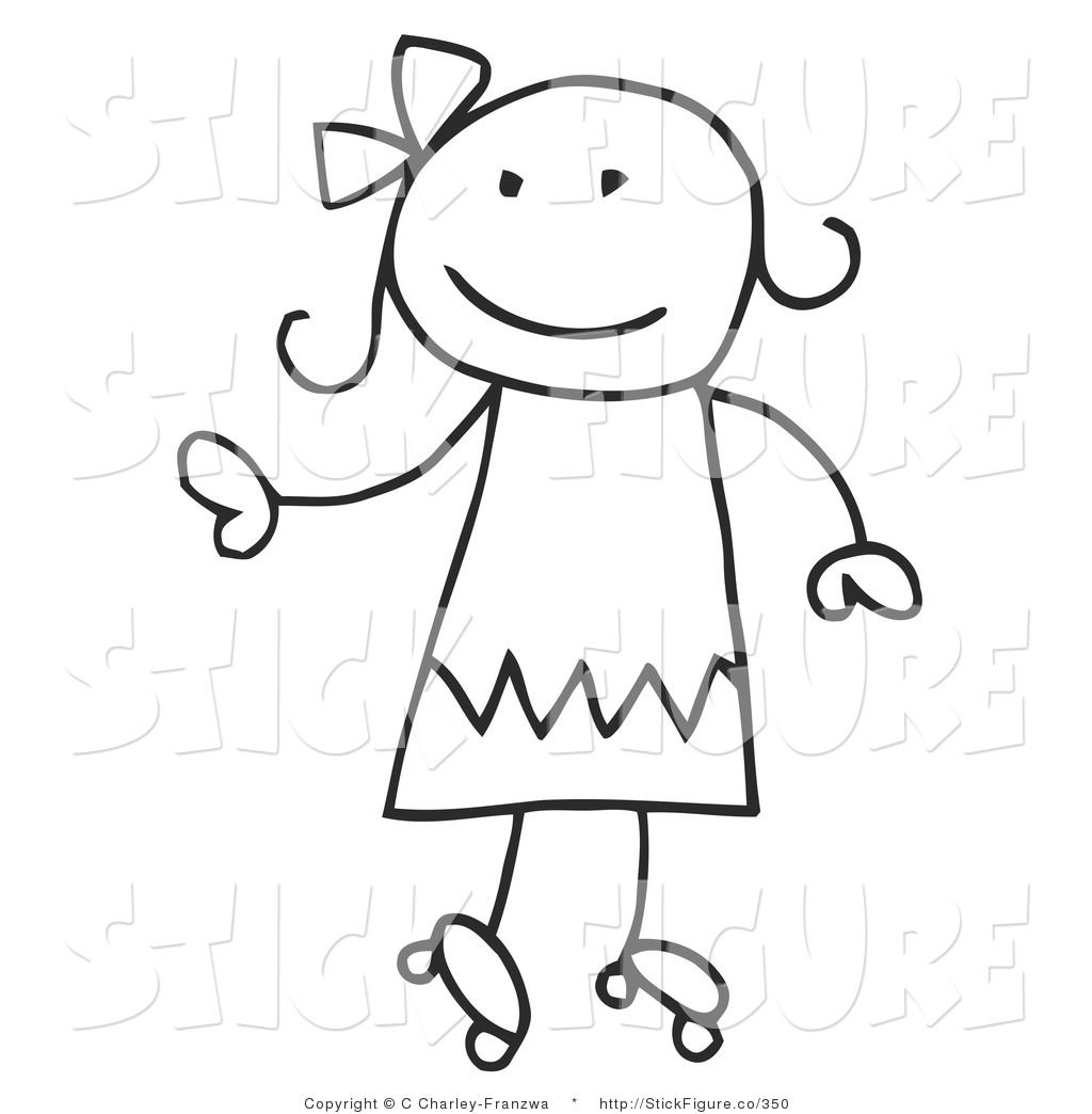 Small stick figure walking to school clipart.