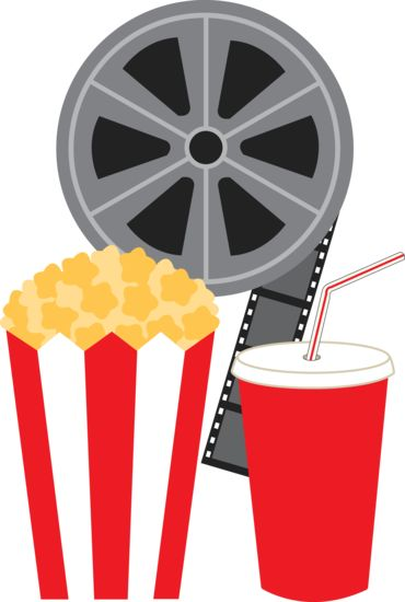 Clip art of a movie film reel with a bag of popcorn and a cup of.