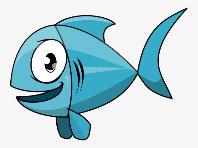 Blue Cartoon Fish, Cartoon Clipart, Fish Clipart, Small Fish.