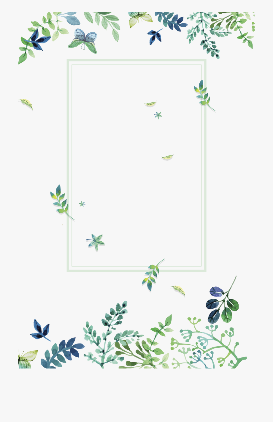 Texture Green Small Fresh Flowers Border Clipart.