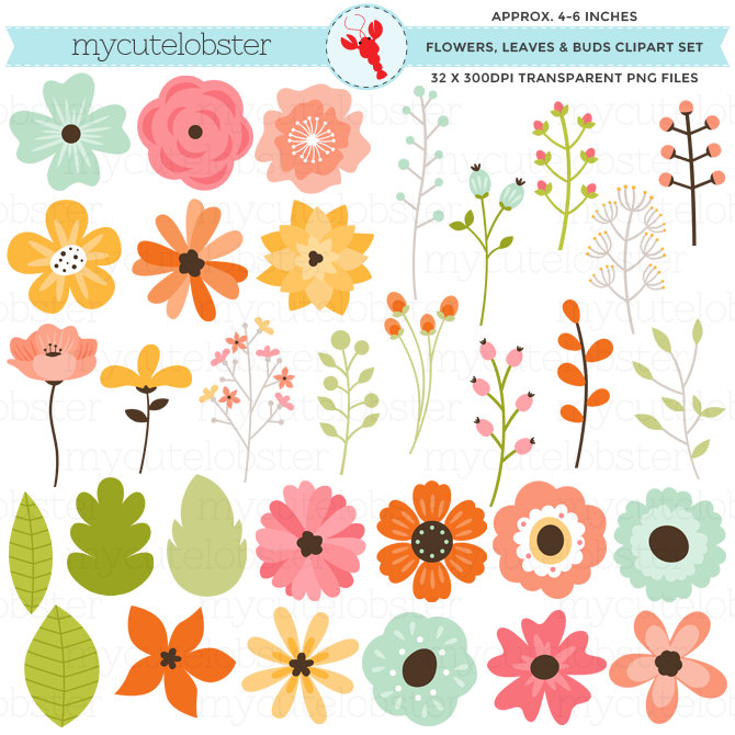 Small Spring Flowers Clip Art.