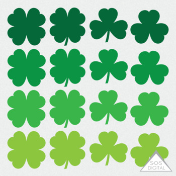 Shamrock Clipart, St. Patty\'s Day Clipart, St. Patrick\'s Day, four leaf  clover.