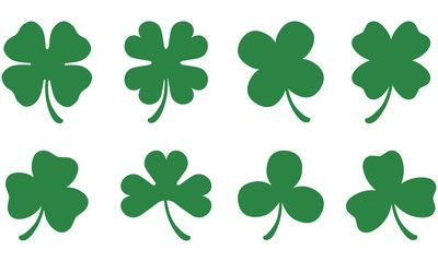 Vecteur : Four and Three Leaf Clovers.