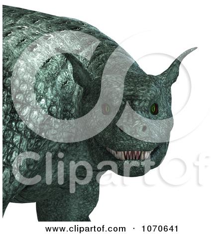 Clipart 3d Fantasy Chrome Gargoyle Flying.