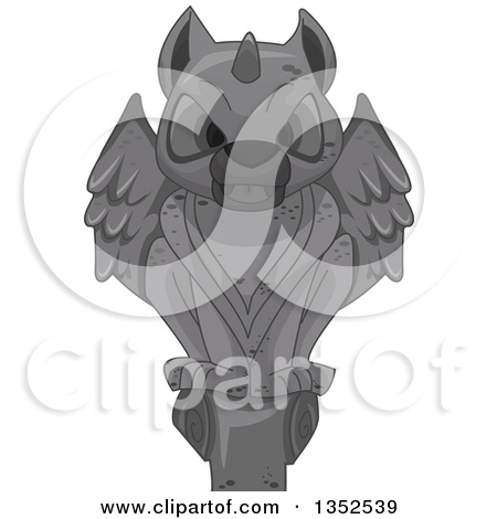 Clipart of a Perched Stone Gargoyle Statue.