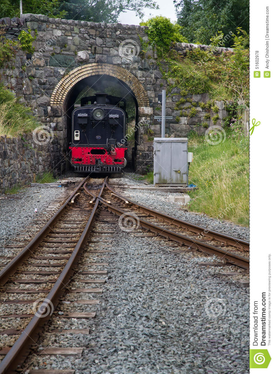 Welsh Highland Narrow Gauge Railway. Steam Locomotive Approaches.